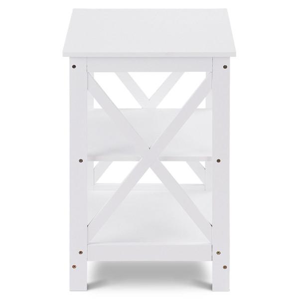 3-Tier Living Room Display Storage Shelf Nightstand-White HW58944WH
