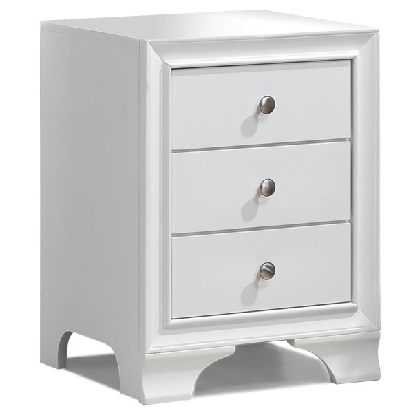 3 Drawers Nightstand End Beside Sofa Side Table-White HW58982WH