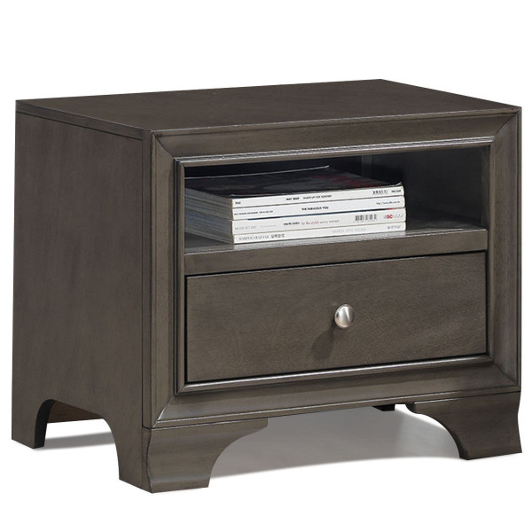 Nightstand Sofa Side Table End Table Storage Drawer -Gray HW58983GR