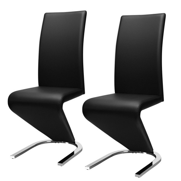 2 Pcs High Back W/U - Shaped Pu Leather Dining Chairs HW59086