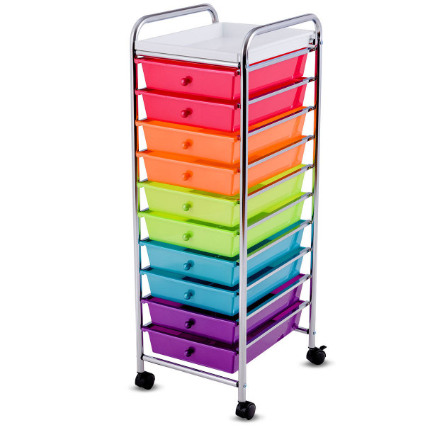 10 Drawers Rolling Organizer Cart Craft Utility Mobile Trolley HW59096