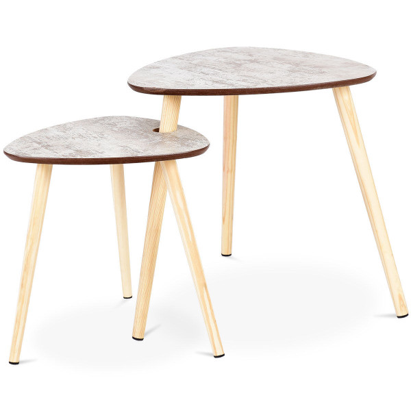 2 Pcs Living Room Nesting End Coffee Tables With Wooden Leg HW59264