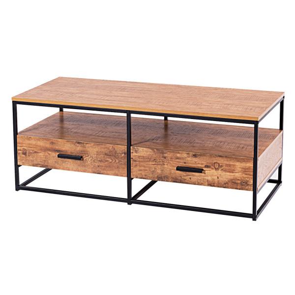 "47"" 2-Tier Cocktail 2 Drawer Coffee Table Metal Desk HW59331"
