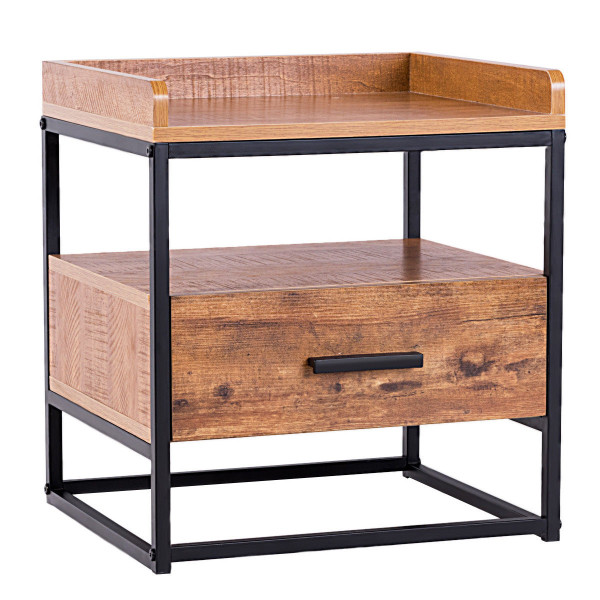 2-Tiers End Side Table With 1 Drawer HW59332