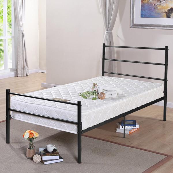 "77.5"" X 39.9"" X 35.0"" Twin Size Metal Bed Frame 6 Legs-Black HW59406BK"