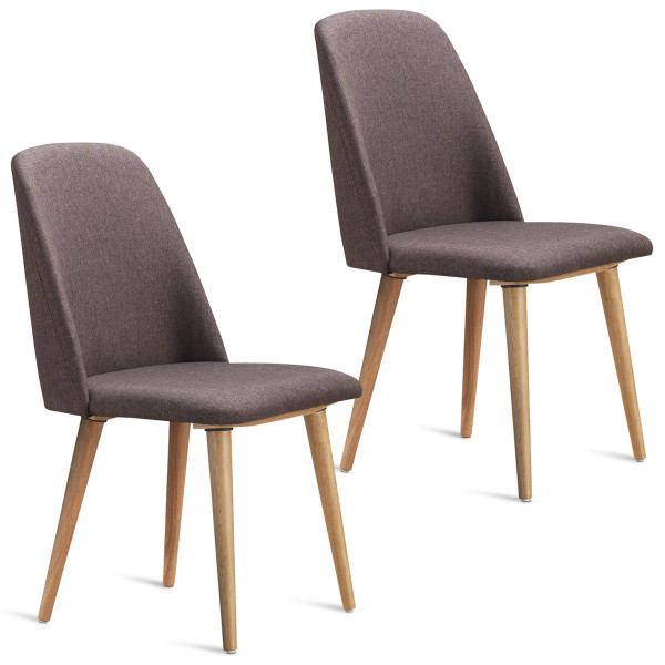 Set Of 2 Leisure Accent Armless Upholstered Dining Chairs-Brown HW59413NA