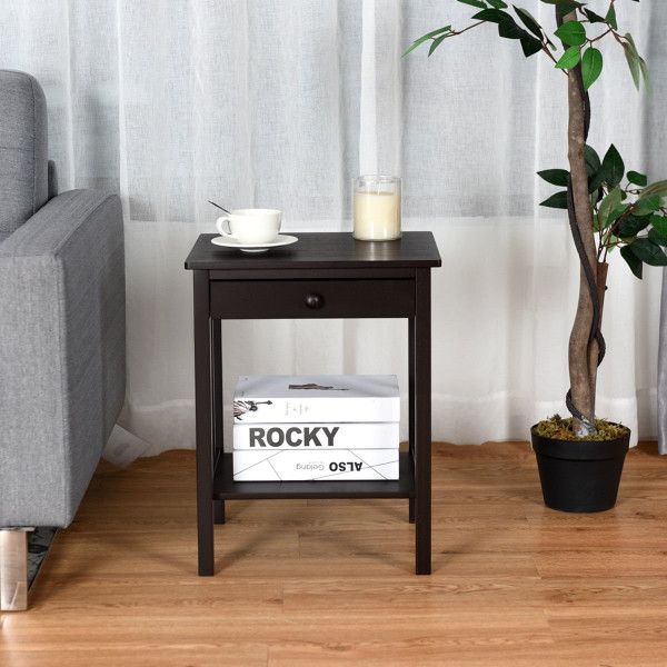 Bamboo Nightstand End Table With Drawer Storage Shelf HW59422