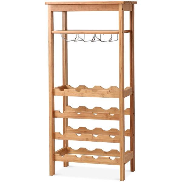 16 Bottles Bamboo Storage Wine Rack With Glass Hanger HW59431