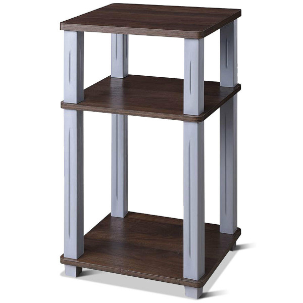 3 Tier End Table Multipurpose Shelf Night Stand Display Shelving-Coffee HW60172CF - (Pack Of 2)