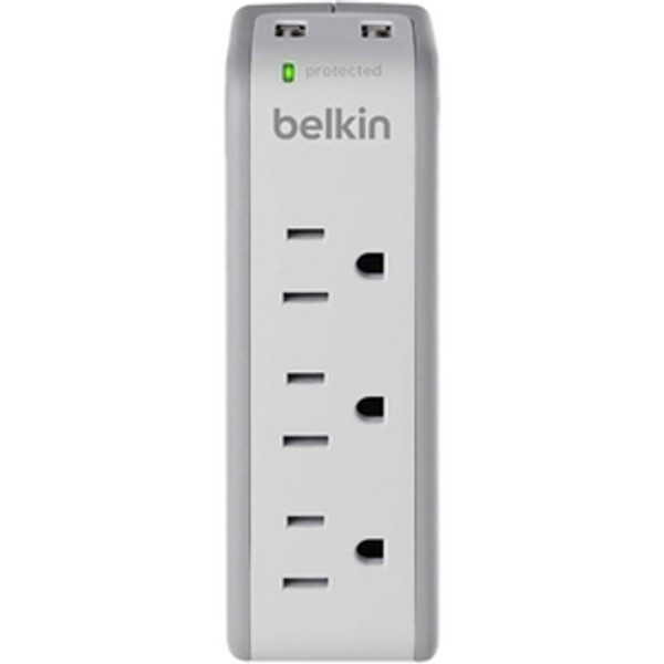 3-Outlet Mini Surge Protector With Usb Ports (2.1 Amp) By Belkin