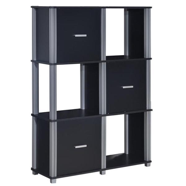 3 Tiers 6 Cubes Storage Cabinet Shelf Bookcase With 3 Doors-Black HW60176BK