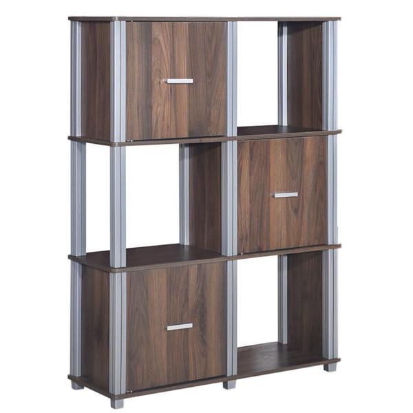 3 Tiers 6 Cubes Storage Cabinet Shelf Bookcase With 3 Doors-Walnut HW60176CF