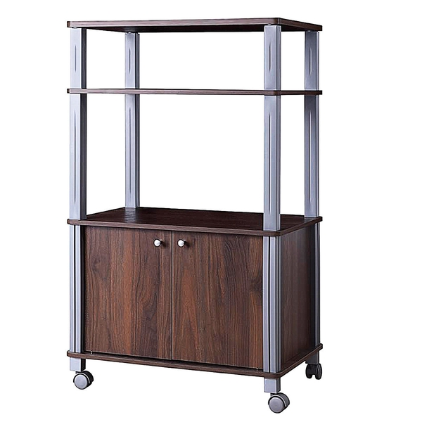 Bakers Rack Microwave Stand Rolling Storage Cart-Walnut HW60180CF