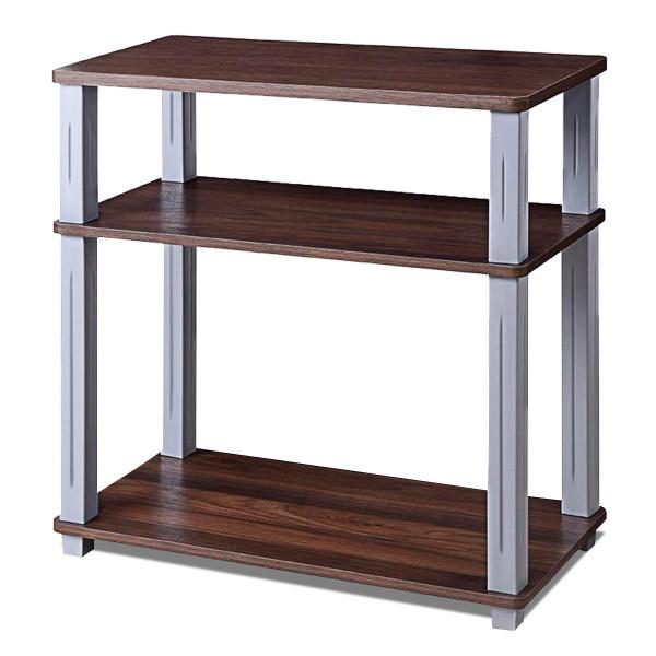 3-Tier Tv Media Stand Component Console Multipurpose Shelf Display-Walnut HW60181CF
