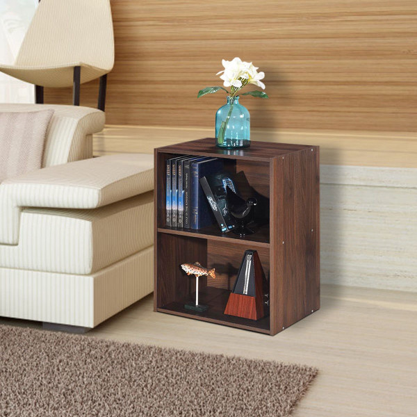 2 Tier Open Night Stand End Table Sofa Side Storage Furniture-Walnut HW60188CF
