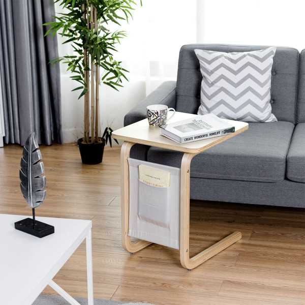 Bentwood Accent Coffee Table Square Tabletop With Storage Bag HW60311