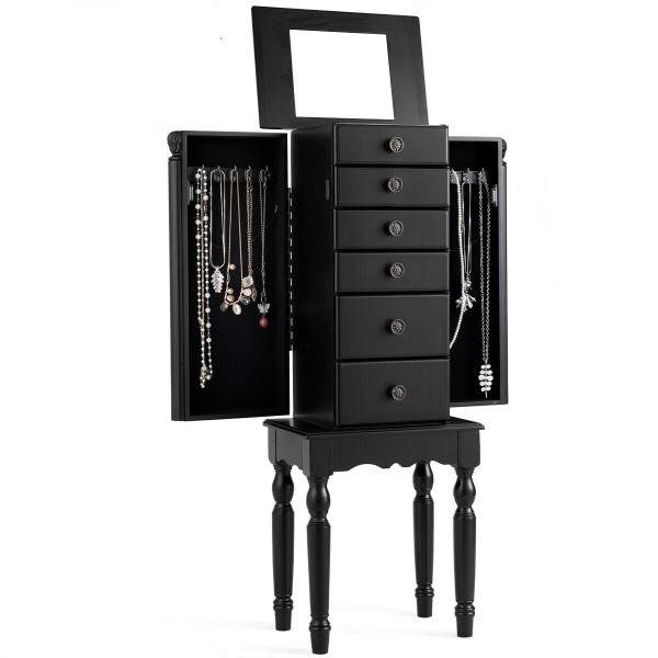 Armoire Storage Box Chest Standing Jewelry Cabinet HW60447