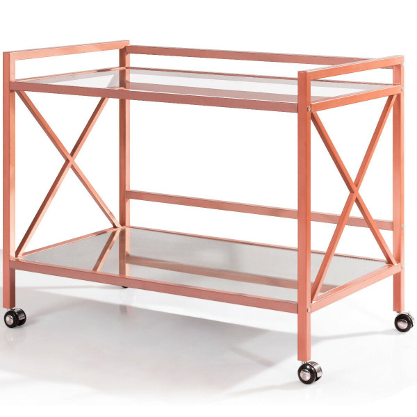 2-Tier Rolling Kitchen Bar Serving Cart HW60709