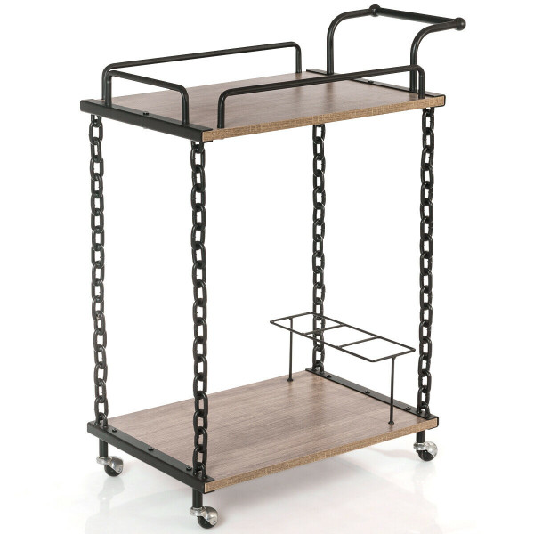 2-Tier Rolling Kitchen Bar Serving Cart HW60710