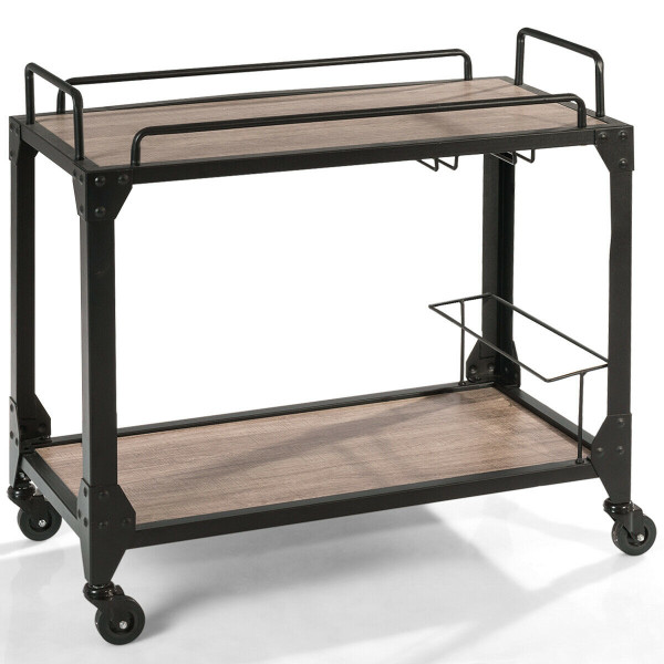 2 Tier Wood Kitchen Island Rolling Bar Serving Cart HW60711