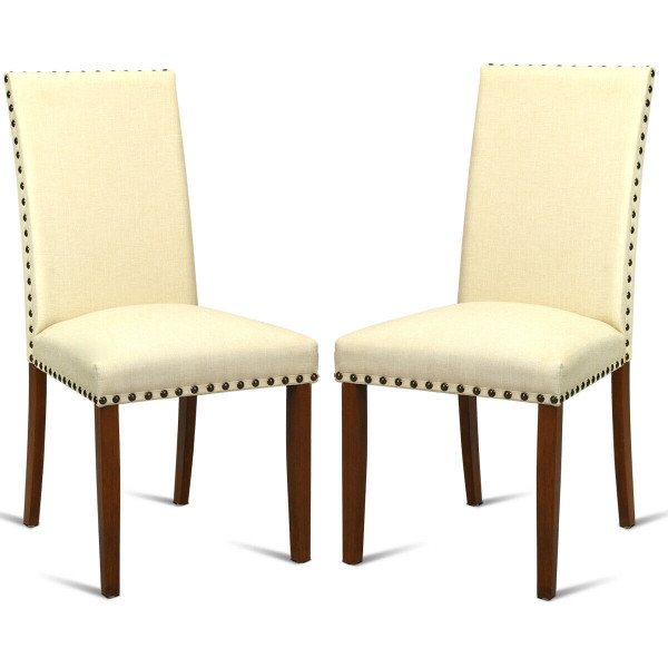 Set Of 2 High Back Armless Fabric Dining Chairs HW60723
