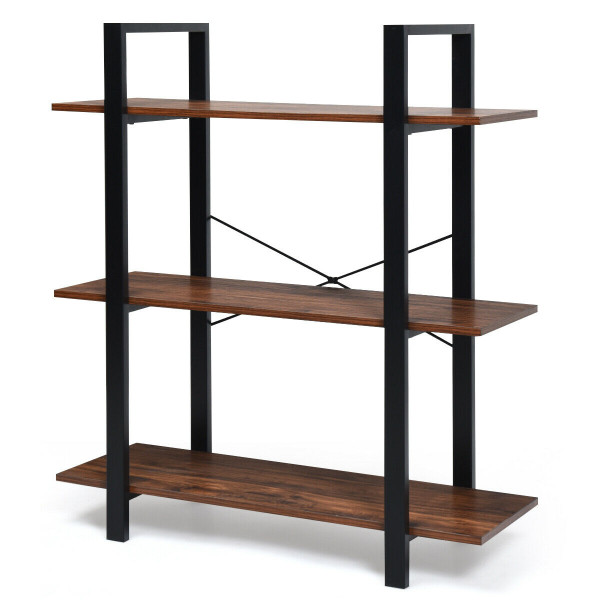 3-Tiers Bookshelf Industrial Bookcases Metal Frame Shelf Stand HW61063