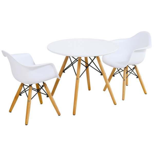 3 Piece Kids Modern Round Table Chair Set HW61365-2