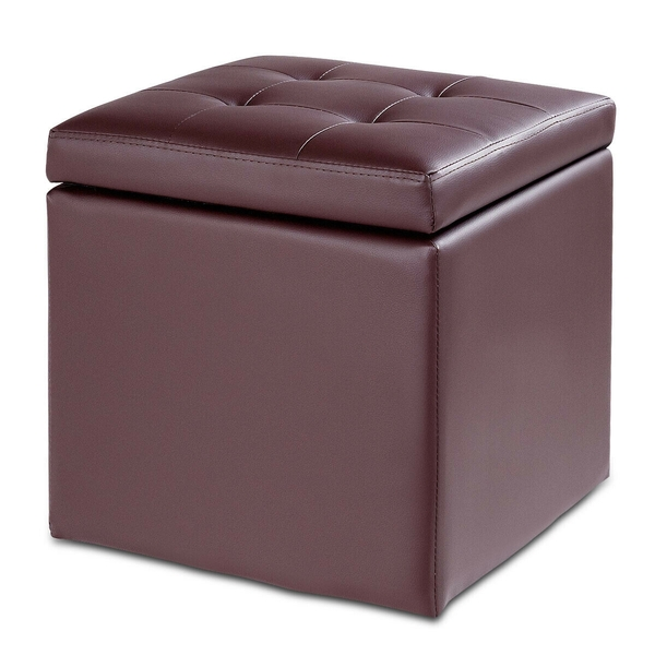 "16"" Storage Box Ottoman Square Seat Foot Stool-Coffee HW61401CF"