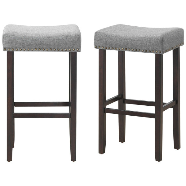 """2 Pcs 29.5"""" Saddle Bar Stools With Fabric Seat And Wood Legs-Gray HW61415"""