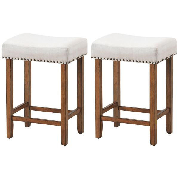 2 Pcs Nailhead Saddle Bar Stools With Fabric Seat & Wood Legs-Beige HW61416