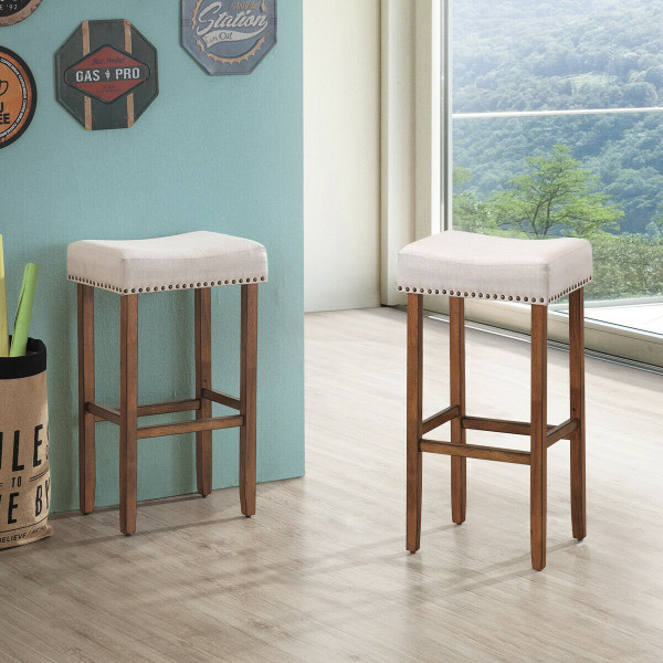 """2 Pcs 29.5"""" Saddle Bar Stools With Fabric Seat And Wood Legs-Beige HW61417"""