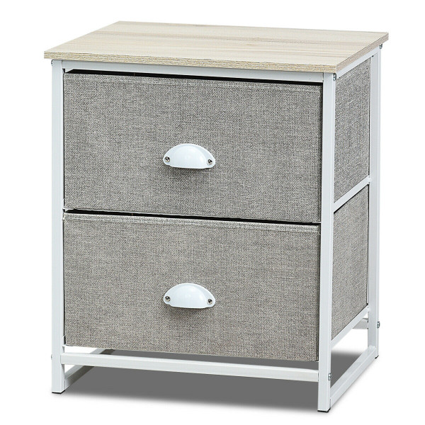 Metal Frame Nightstand Side Table Storage With 2 Drawers-Gray HW61418WH