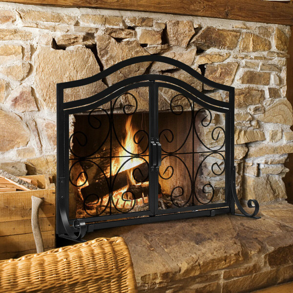 Fireplace Screen With Hinged Magnetic Two-Doors Flat Guard HW61476