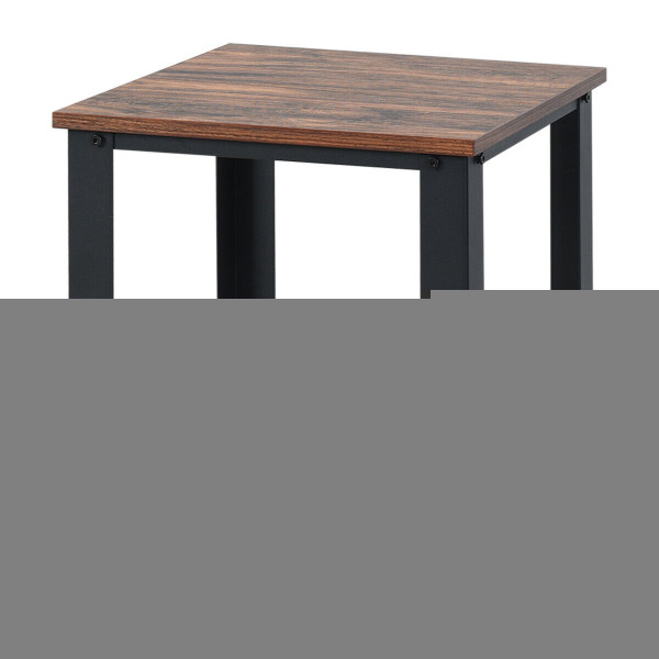 Industrial End Table 2-Tier Side Table-Black HW61493BK