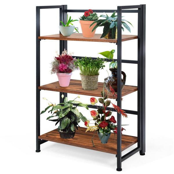 3-Tier Portable Display Folding Bookshelf Storage Shelf-Black HW61500BK