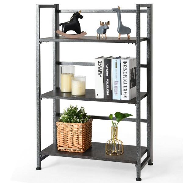 3-Tier Portable Display Folding Bookshelf Storage Shelf-Silver HW61500SL