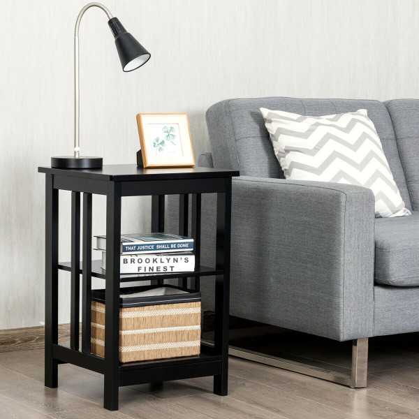 3-Tier Nightstand Side Table With Baffles And Corners-Black HW61505BK