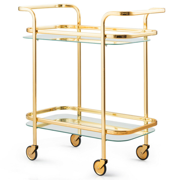 2 Tier Metal Frame Rolling Kitchen Cart With Glass Shelves HW61549