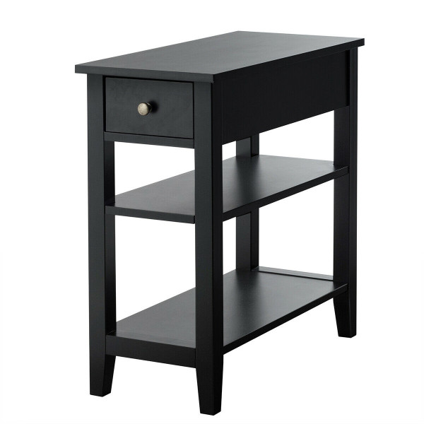 3-Tier Nightstand Bedside Table Sofa Side With Double Shelves Drawer-Black HW61591BK