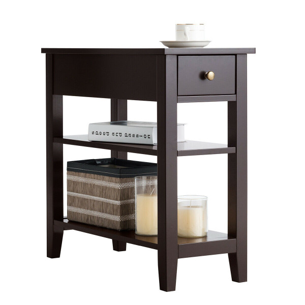 3-Tier Nightstand Bedside Table Sofa Side With Double Shelves Drawer-Coffee HW61591CF