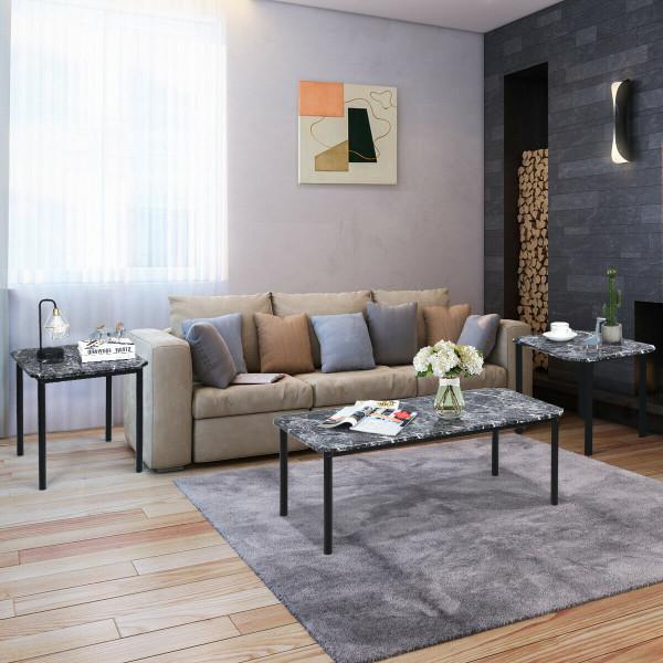 3 Pcs Modern Faux Marble Coffee End Table Set HW61711