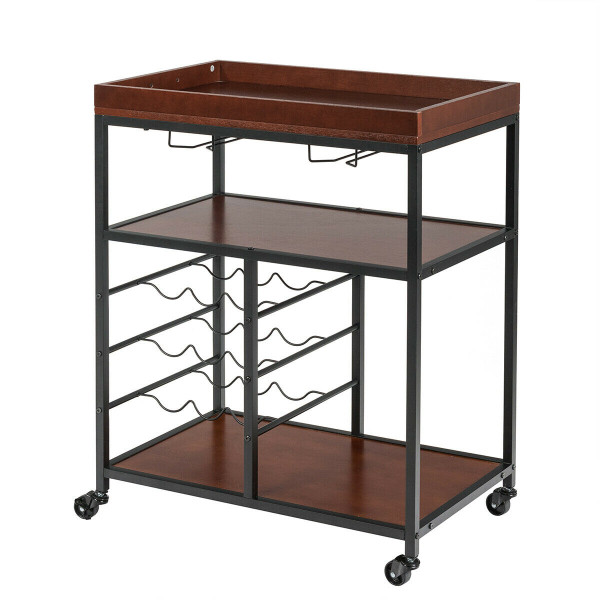 3 Tier Storage Bar Serving Cart With Wine Rack And Glass Holder HW61720