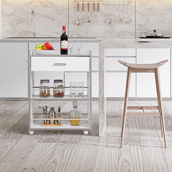 3-Tier Rolling Kitchen Trolley Cart With Drawer HW61806