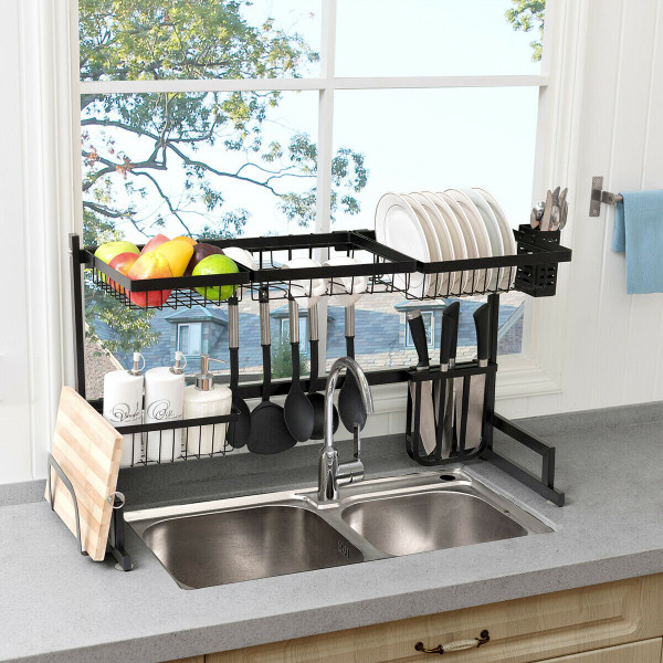 2 Tier Stainless Steel Over Sink Dish Drainer HW62329