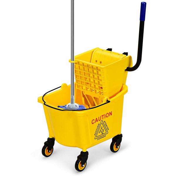 26 Quart Side Press Wringer Commercial Mop Bucket HW62388