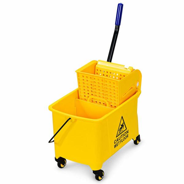 21 Quart Mop Bucket Side Press Wringer On Wheels With Panel HW62395