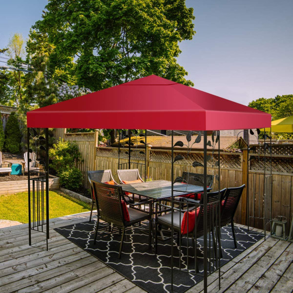 10' X 10' 1-Tier Or 2-Tier 3 Colors Patio Canopy Top Replacement Cover-1 Tier Red OP2630WINE