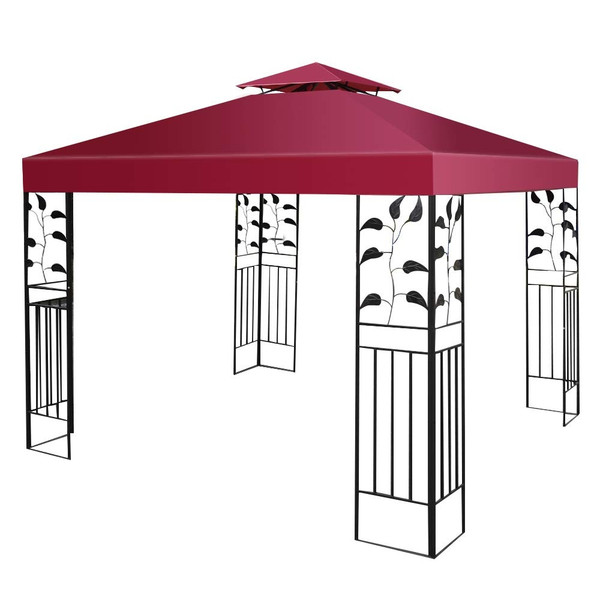 10' X 10' 1-Tier Or 2-Tier 3 Colors Patio Canopy Top Replacement Cover-2 Tier Red OP2631WINE