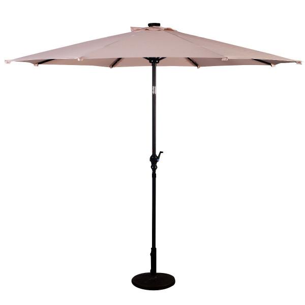 10Ft Patio Solar Umbrella Led Patio Market Steel Tilt W/ Crank Outdoor New-Beige OP2805BE