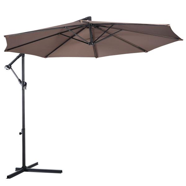10' Hanging Umbrella Patio Sun Shade Offset Outdoor Market W/T Cross Base Goplus OP2808TN